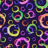 Abstract feestelijk kleurrijk patroon Neoncirkels op donkerblauwe achtergrond stock illustratie