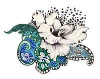 Abstract felt-tip pen flowers. Illustration Royalty Free Stock Image