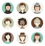Abstract female avatars. Set illustrations -- abstract female avatars Stock Illustration