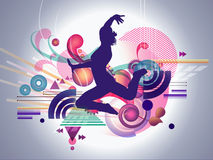 Abstract Female Dancer. A silhouette of a female jumping with vector shapes exploding around her to insinuate movement and music Stock Photos