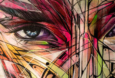 Abstract female eye and face graffiti Royalty Free Stock Image
