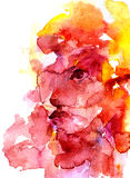 Abstract female face aquarelle. Modern style abstract beautiful female face watercolor aquarelle hand drawn colorful decor yellow and rose-colored splatter blots Stock Image