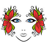 Abstract female face with floral accessories Royalty Free Stock Image