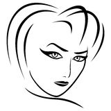 Abstract female gaze. Abstract female head with half turn head and concentrated look, vector illustration Royalty Free Stock Photo