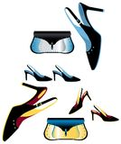 Abstract female glamour fashion. Woman summer shoes and bag royalty free illustration