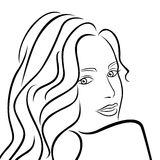 Abstract female half turn portrait. Abstract outline female half turn portrait, black over white hand drawing vector artwork Royalty Free Stock Photo