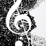 Abstract female profile composed of musical signs, notes. Musical poster with DJ, soul of music, cover for CD. Vector illustration stock illustration
