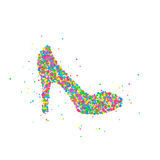 Abstract female shoe. Splash of colored circles. Vector illustration Royalty Free Stock Photography