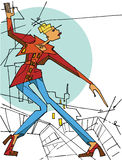 Abstract female stay on City.Fashion illustration Royalty Free Stock Photography