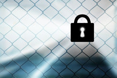 Abstract fence background with closed padlock Royalty Free Stock Photo