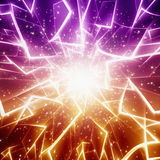 Abstract festive background. Bright orange and pink lights and stars Royalty Free Stock Photography