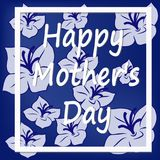 Text of a happy mother s day and a rectangular frame on a background of blue flowers. Abstract Festive Background with Flowers and a Rectangular Frame. Happy Stock Photos
