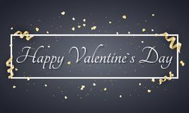 Abstract festive banner for Valentines day. Luxury card for Valentines day. Golden confetti and curl tape. Advertising banner with. White frame and text. Vector Vector Illustration