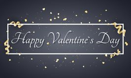 Abstract festive banner for Valentines day. Luxury card for Valentines day. Golden confetti and curl tape. Advertising banner with. White frame and text. Vector Stock Illustration