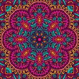 Colorful seamless pattern mandala flower design. Abstract festive colorful grunge vector ethnic tribal pattern. fancy border Royalty Free Stock Photography