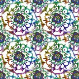 Abstract festive colorful mandala ethnic tribal pattern. On white background pattern Stock Images