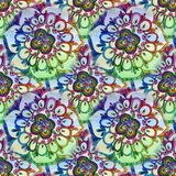 Abstract festive colorful mandala ethnic tribal pattern. On white background pattern Royalty Free Stock Image
