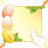 Abstract festive Easter frame with eggs and bunny. Illustration Royalty Free Stock Photos