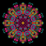 Abstract Festive ethnic  mandala background. Abstract Festive vintage tribal ethnic geometric mandala background. Doily round ornament on black Royalty Free Stock Images