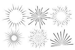 Abstract festive firework shape. Burst light rays. Exploding graphic element. Isolated on white background. Vector. Illustration Stock Images