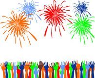 Abstract festive fireworks and hands background. Vector illustration Stock Image