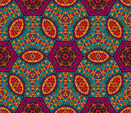 Abstract festive floral seamless pattern. Abstract seamless pattern ornamental. Festive colorful background design. Geometrical Ethnic floral mosaic Ornament Royalty Free Stock Photography