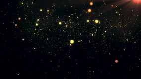 Abstract festive golden particles background. Dust floating with flare