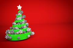 Abstract festive spiral christmas tree made of green ribbon with dotted and striped xmas balls. 3d render illustration. Abstract festive spiral christmas tree stock illustration