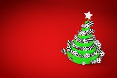 Abstract festive spiral christmas tree made of green ribbon with dotted and striped xmas balls. 3d render illustration. Abstract festive spiral christmas tree royalty free illustration