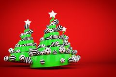 Abstract festive spiral christmas tree made of green ribbon with dotted and striped xmas balls. 3d render illustration. Abstract festive spiral christmas tree royalty free stock photo