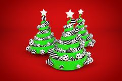 Abstract festive spiral christmas tree made of green ribbon with dotted and striped xmas balls. 3d render illustration. Abstract festive spiral christmas tree royalty free stock images