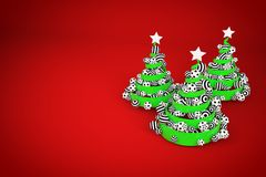 Abstract festive spiral christmas tree made of green ribbon with dotted and striped xmas balls. 3d render illustration. Abstract festive spiral christmas tree stock image