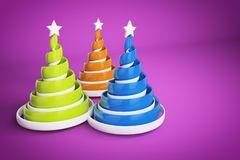 Abstract festive spiral christmas tree made of ribbons with star. 3d render illustration on violet background. Holiday greeting card stock photo