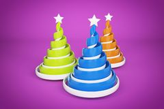 Abstract festive spiral christmas tree made of ribbons with star. 3d render illustration on violet background. Holiday greeting card royalty free stock images