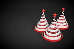 Abstract festive spiral christmas tree made of white and red ribbons with star. 3d render illustration on black background. Holiday greeting card vector illustration