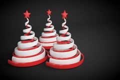 Abstract festive spiral christmas tree made of white and red ribbons with star. 3d render illustration on black background. Holiday greeting card royalty free illustration