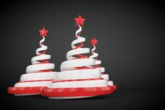 Abstract festive spiral christmas tree made of white and red ribbons with star. 3d render illustration on black background. Holiday greeting card stock illustration