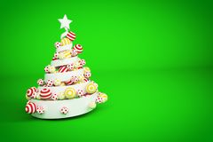 Abstract festive spiral christmas tree made of white ribbon with dotted and striped xmas balls. 3d render illustration. Abstract festive spiral christmas tree stock illustration