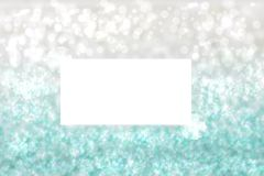 Abstract festive turquoise silver shining glitter background texture with a white frame with ribbon bows. Made for valentine, vector illustration