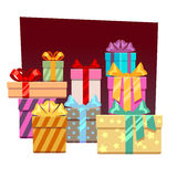 Abstract festive vector background with gift boxes. Xmas gift or christmas festive gift, box gift illustration Royalty Free Stock Photos