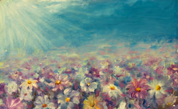 Abstract field flowers painting. Beautiful flowers on field. Original oil abstract field flowers painting on canvas. Modern Impressionism. Beautiful flowers on Royalty Free Stock Photo