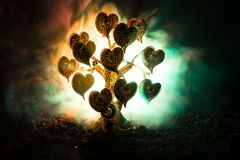 Abstract field with tree and hearts on it behind dark foggy toned sky. Love tree of dreams. Valentine concept background. Selective focus Stock Photo
