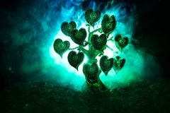 Abstract field with tree and hearts on it behind dark foggy toned sky. Love tree of dreams. Valentine concept background. Selective focus Royalty Free Stock Images