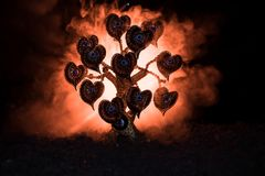 Abstract field with tree and hearts on it behind dark foggy toned sky. Love tree of dreams. Valentine concept background. Selective focus Stock Images