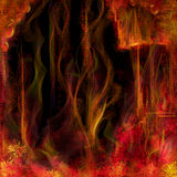 Abstract fiery background. Abstract fantasy background of fiery columns, dots, flowers and strings. Some hellish temple. Digital painting Stock Photo