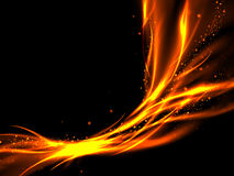 Abstract fiery background of red and gold lines on black Stock Images