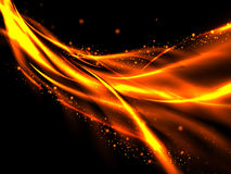 Abstract fiery background of the rising red and gold lines and stars on black. Abstract glowing lines of fire and stars on a black background, vector Stock Images