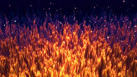 Abstract fiery grass background, Golden Fleece, fantastic dark field with golden grass and pollen starry sky. Abstract fiery grass background, Golden Fleece stock illustration