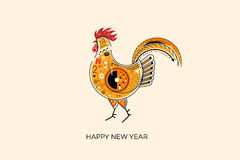 Abstract Fiery Rooster. Symbol Of 2017 On The Chinese Calendar. Pop Art Vector Illustration. Element For New Year Design.  Stock Photography