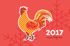 Abstract Fiery Rooster. Symbol Of 2017 New Year On The Chinese Calendar. Memphis Design Vector Illustration.  Stock Photos